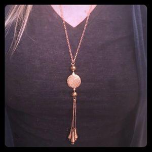 Long gold drop necklace